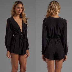 Finders Keepers Black Buckets of Rain Playsuit